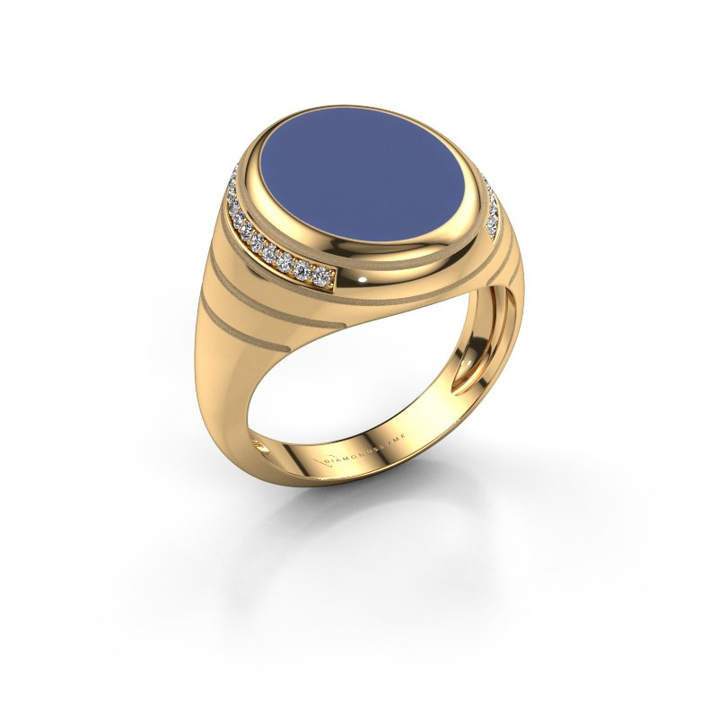 Zegelring Luuk 585 goud blauwe emaille 15x12 mm