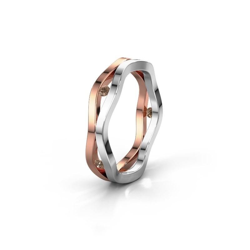 Trouwring WH2122L 585 rosé goud bruine diamant ±5x1.8 mm