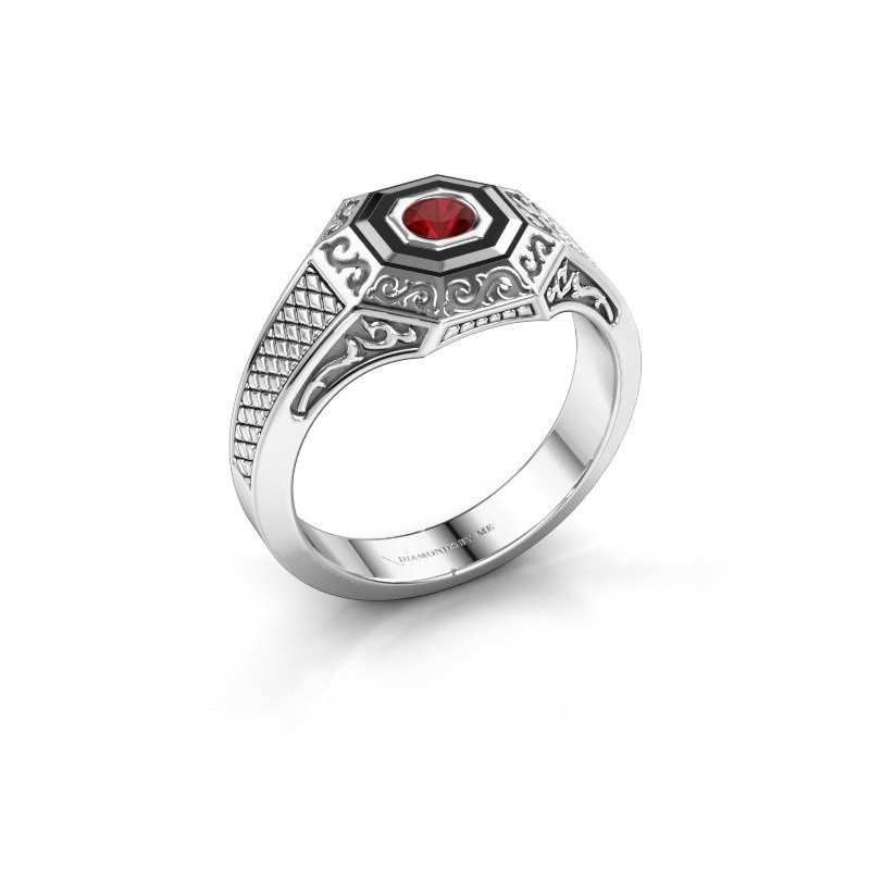 Men's ring Dion 375 white gold ruby 4 mm