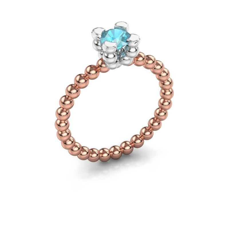 Ring Aurore 585 rose gold blue topaz 5 mm