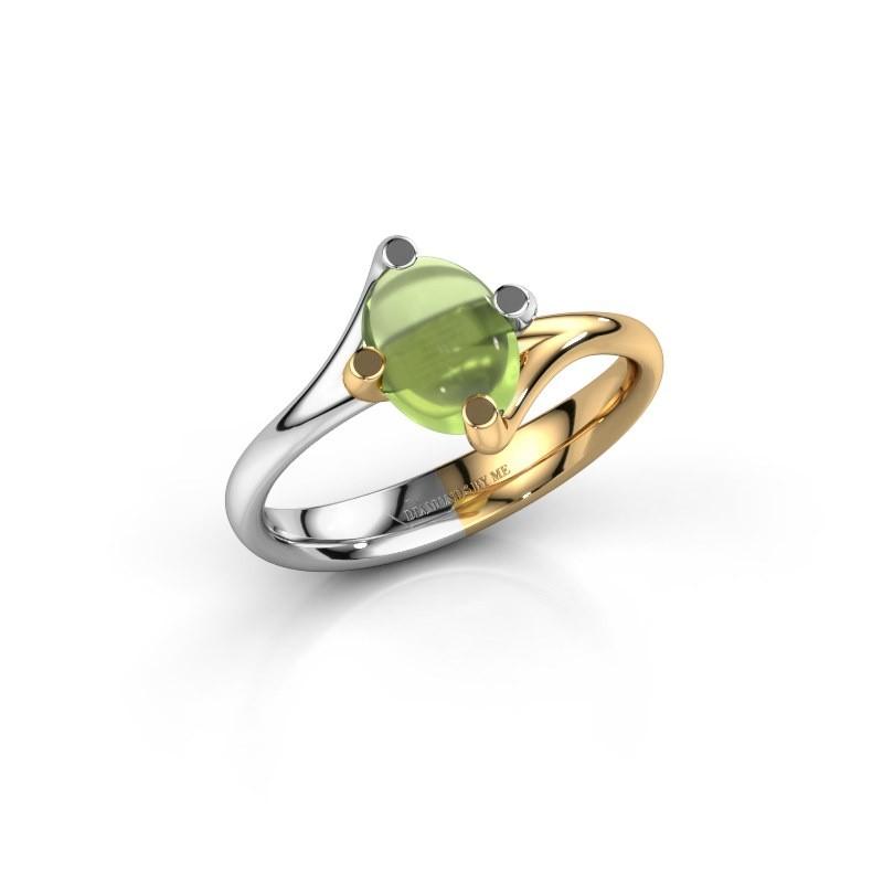 Ring Nora 585 witgoud peridoot 8x6 mm