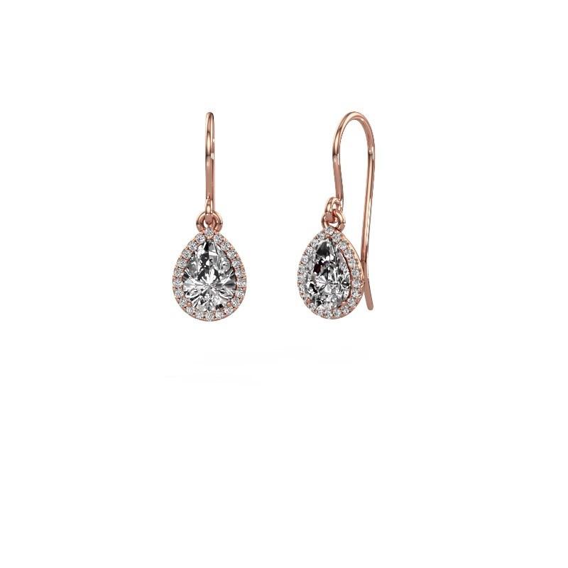 Oorhangers Seline per 375 rosé goud diamant 0.65 crt