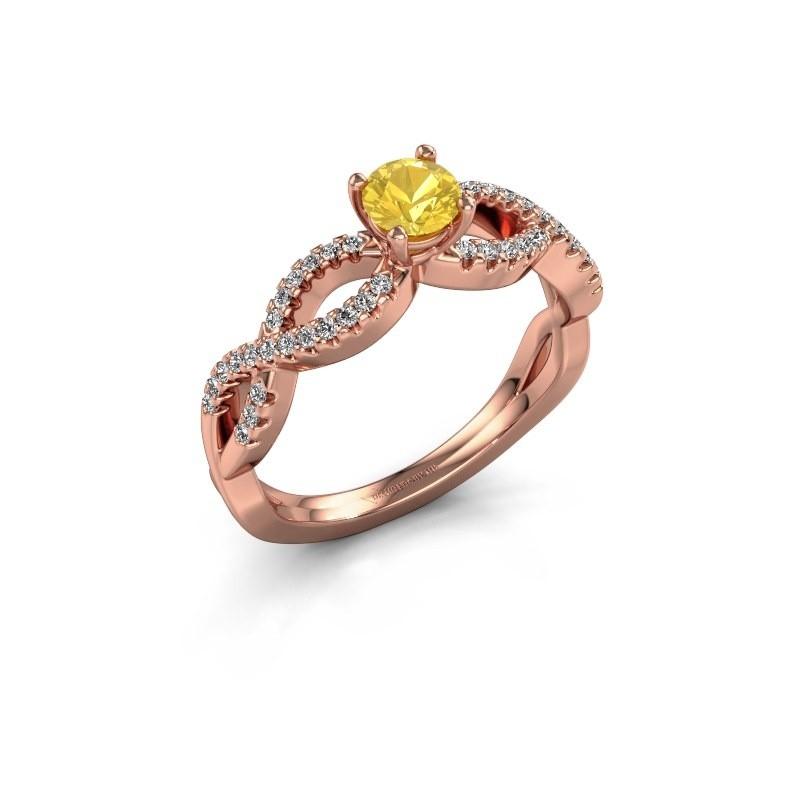 Verlovingsring Hanneke 375 rosé goud gele saffier 4.7 mm