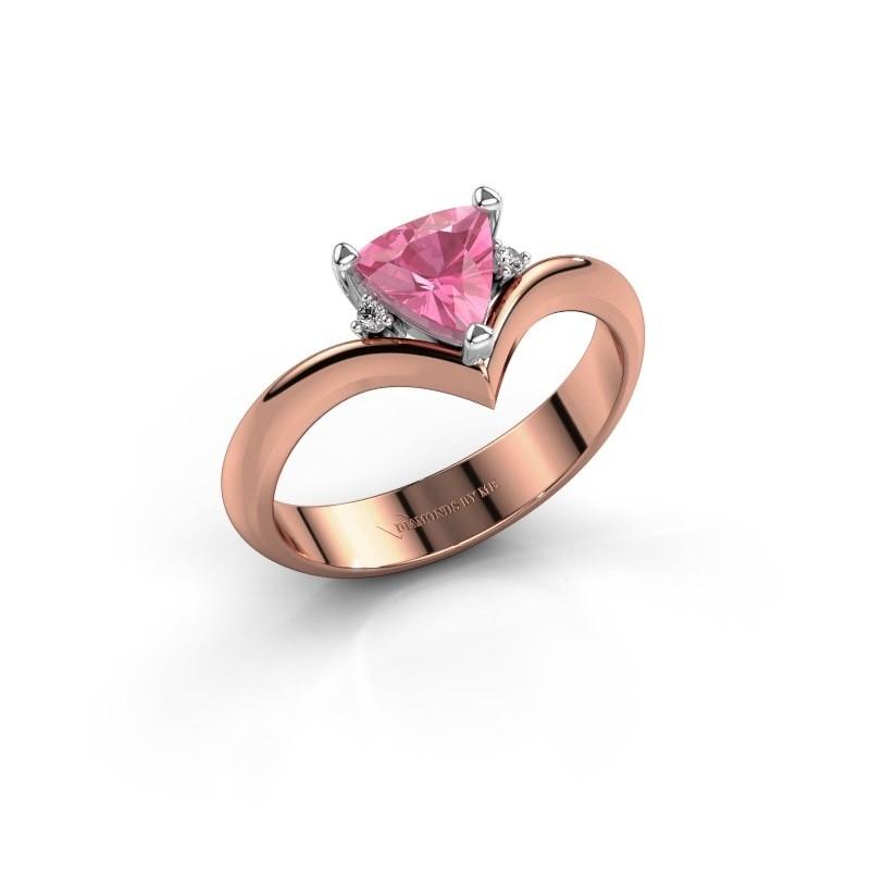 Ring Arlette 585 rosé goud roze saffier 7 mm