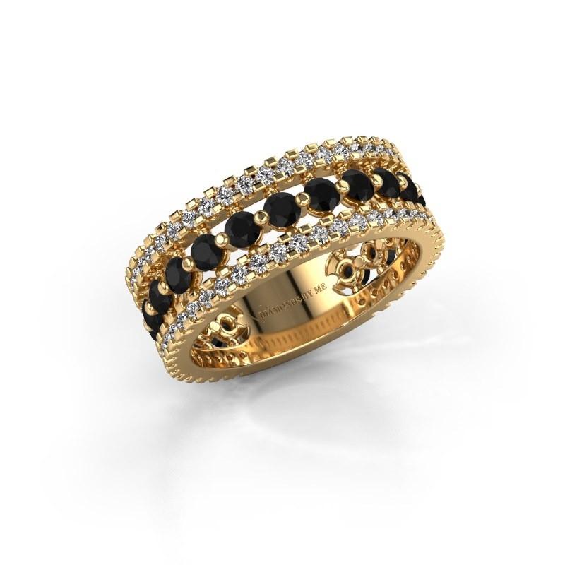 Bague de fiançailles Elizbeth 2 375 or jaune diamant noir 1.994 crt
