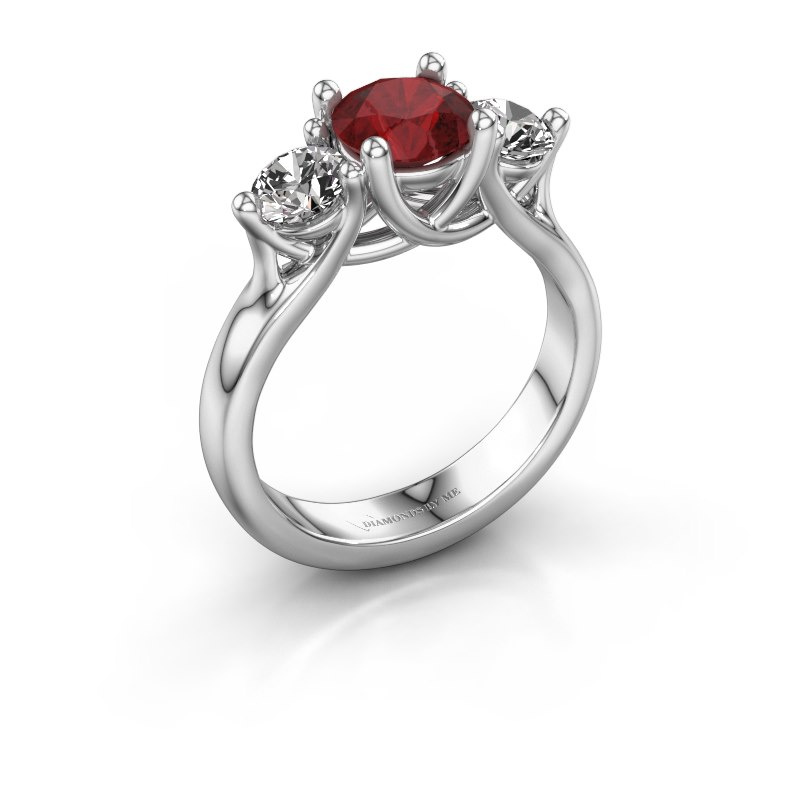 Engagement ring Esila 585 white gold ruby 6.5 mm
