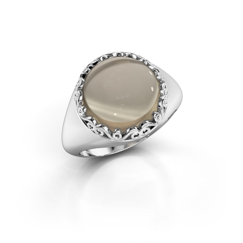 Ring Birgit 950 platina rookkwarts 12 mm