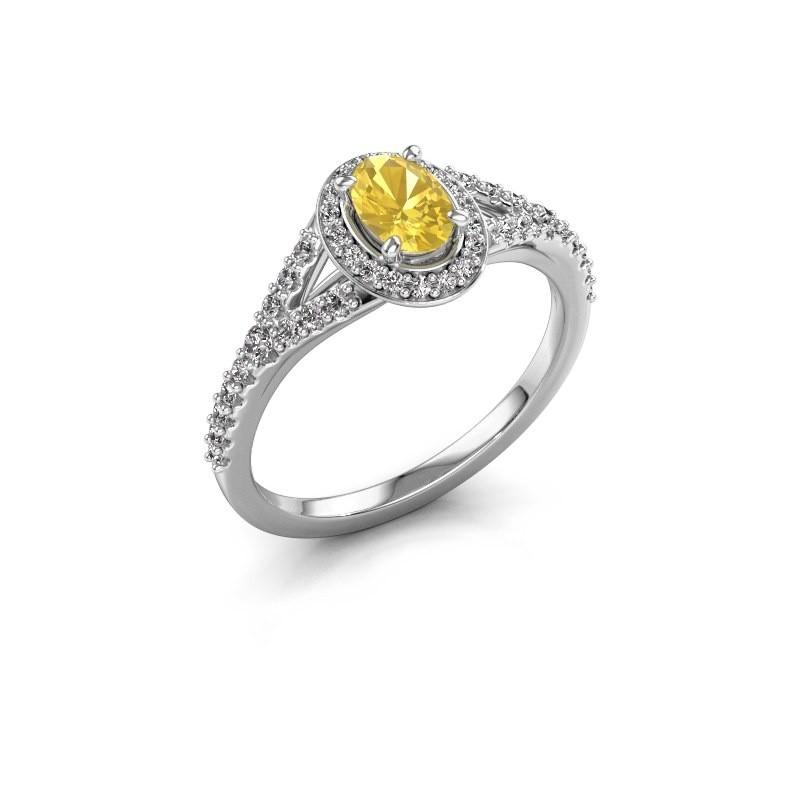 Belofte ring Pamela OVL 585 witgoud gele saffier 7x5 mm