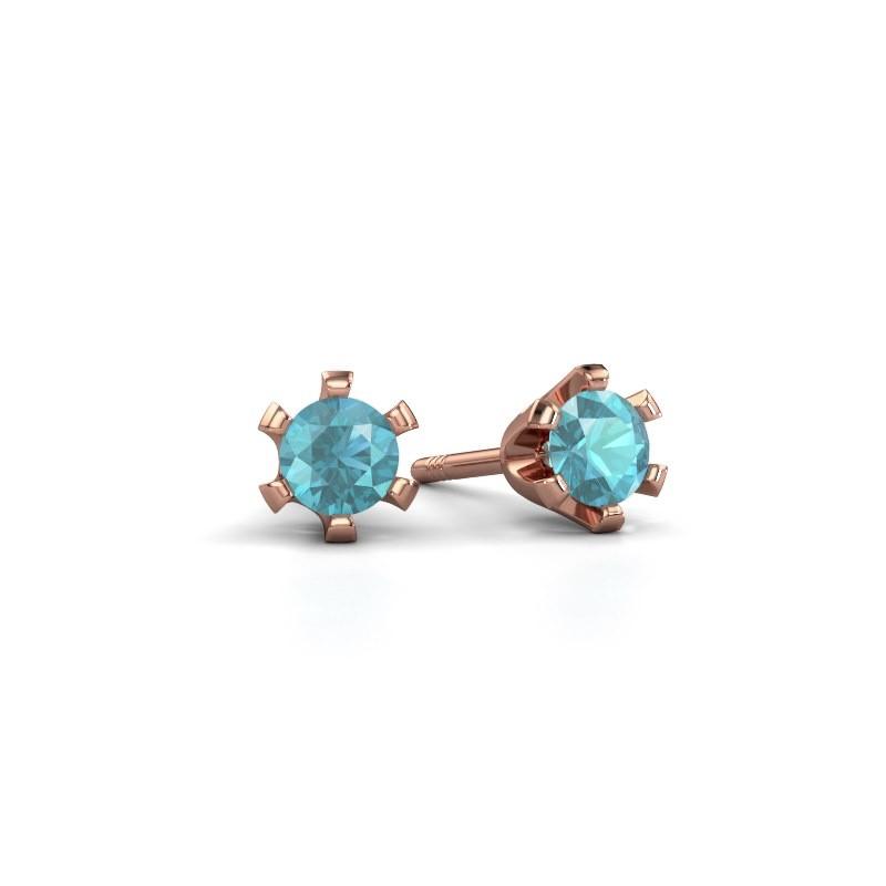Stud earrings Shana 375 rose gold blue topaz 4 mm