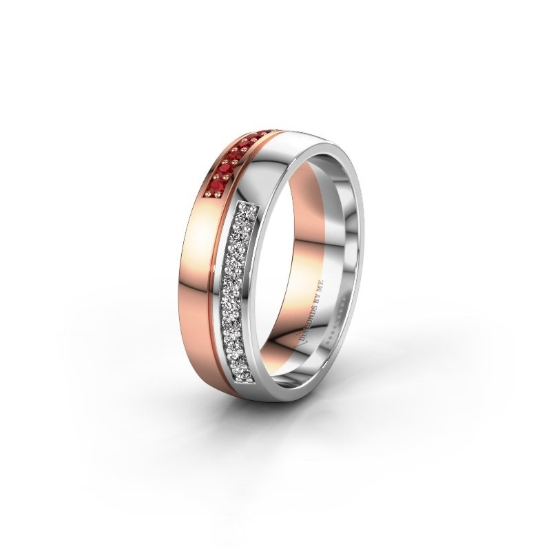 Wedding ring WH0213L26AP 585 rose gold ruby ±0.24x0.07 in