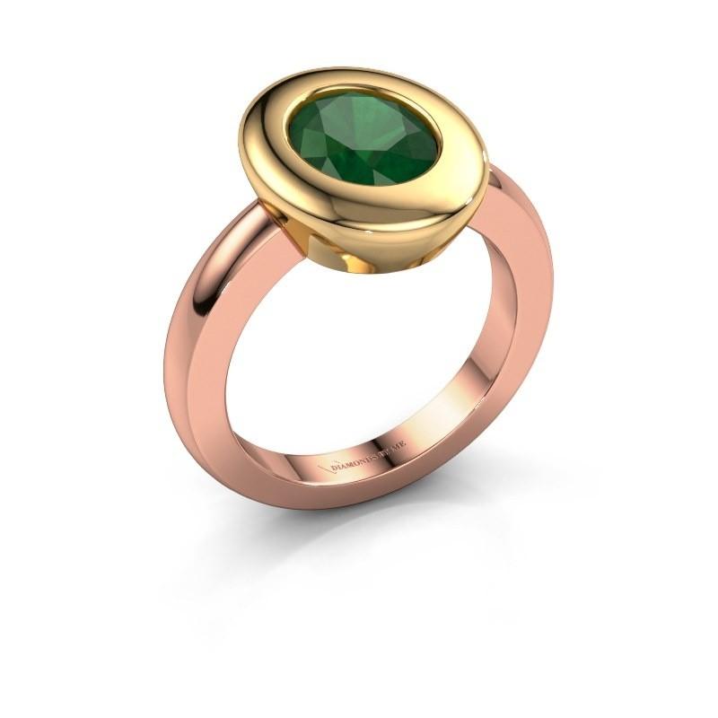 Ring Selene 1 585 rosé goud smaragd 9x7 mm