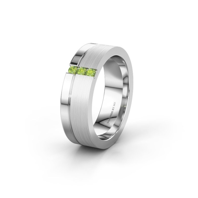 Wedding ring WH0327L16B 950 platinum peridot ±0.24x0.08 in