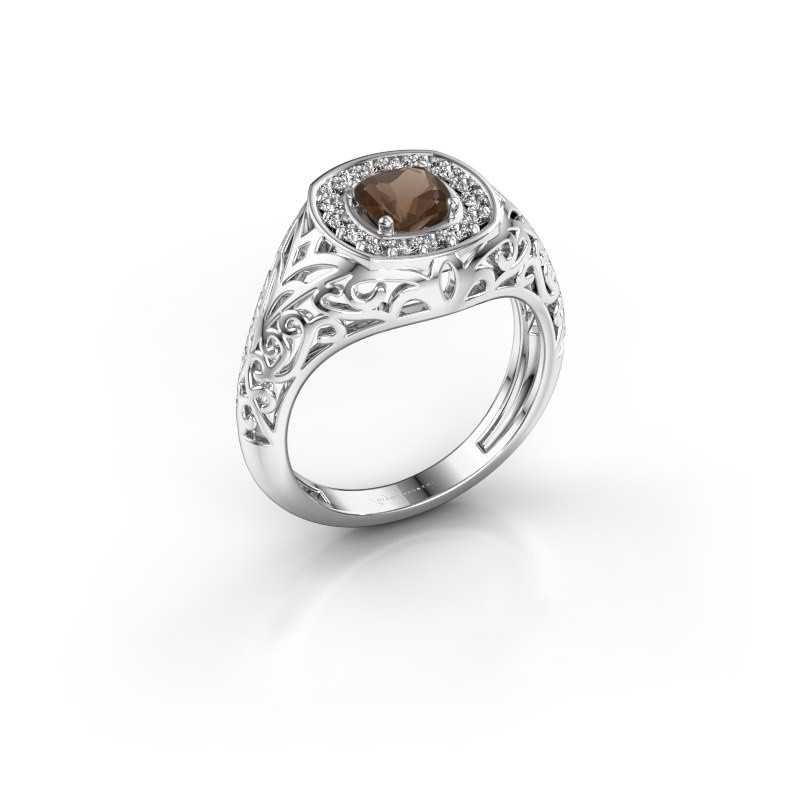 Men's ring Quinten 950 platinum smokey quartz 5 mm