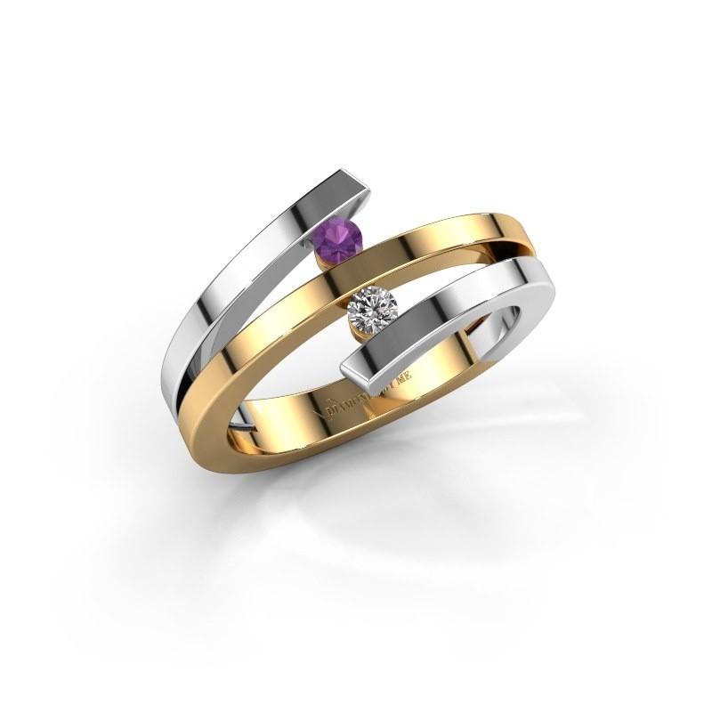 Ring Synthia 585 goud amethist 2.5 mm