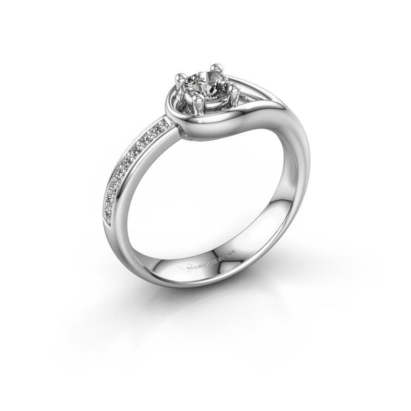 Ring Zara 585 witgoud zirkonia 4 mm