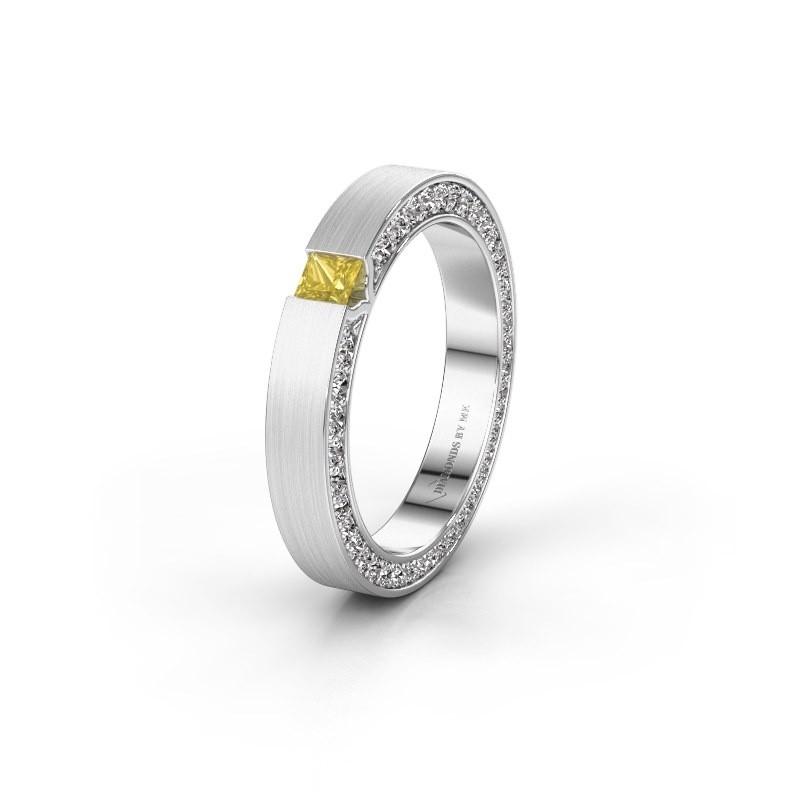 Wedding ring WH2140L14B 950 platinum yellow sapphire ±3,5x2 mm