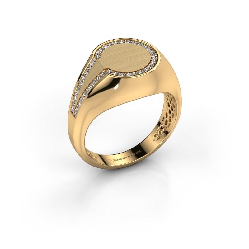 Men's ring Gijs 585 gold zirconia 1 mm