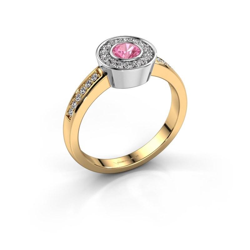 Ring Adriana 2 585 goud roze saffier 4 mm