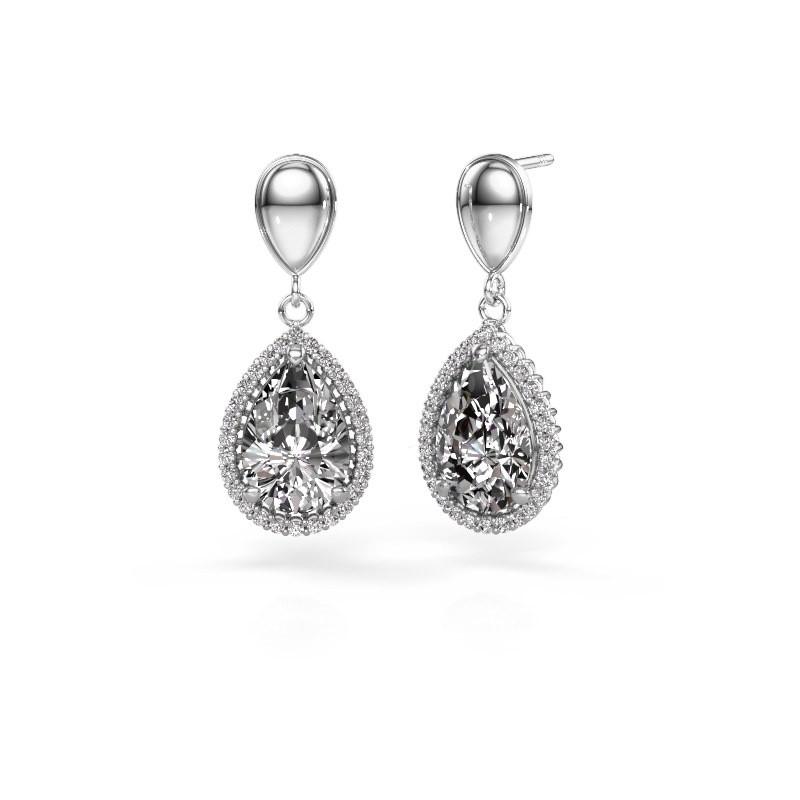 Drop earrings Tilly per 1 950 platinum diamond 6.42 crt