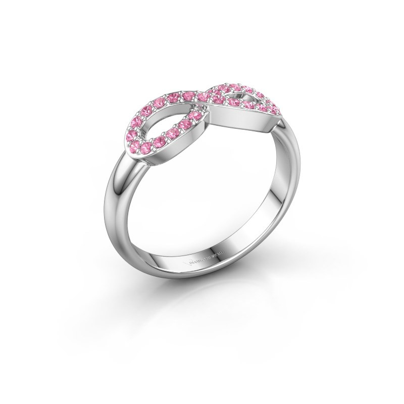 Ring Infinity 2 585 witgoud roze saffier 1.2 mm
