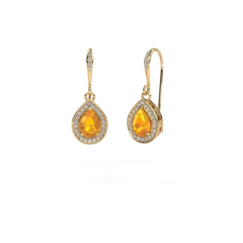 Drop earrings Beverlee 2 375 gold citrin 7x5 mm