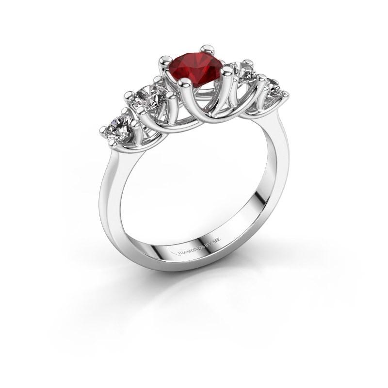 Engagement ring Jet 585 white gold ruby 5 mm