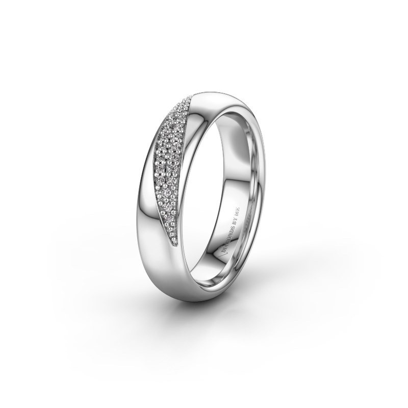 Trouwring WH2025L 585 witgoud diamant ±5x2.2 mm