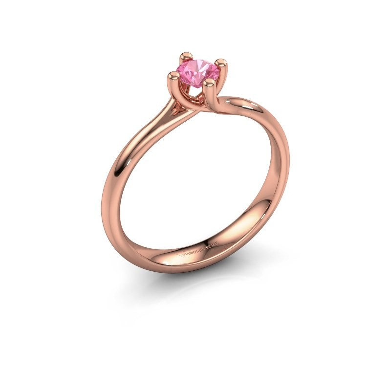 Engagement ring Dewi Round 375 rose gold pink sapphire 4 mm