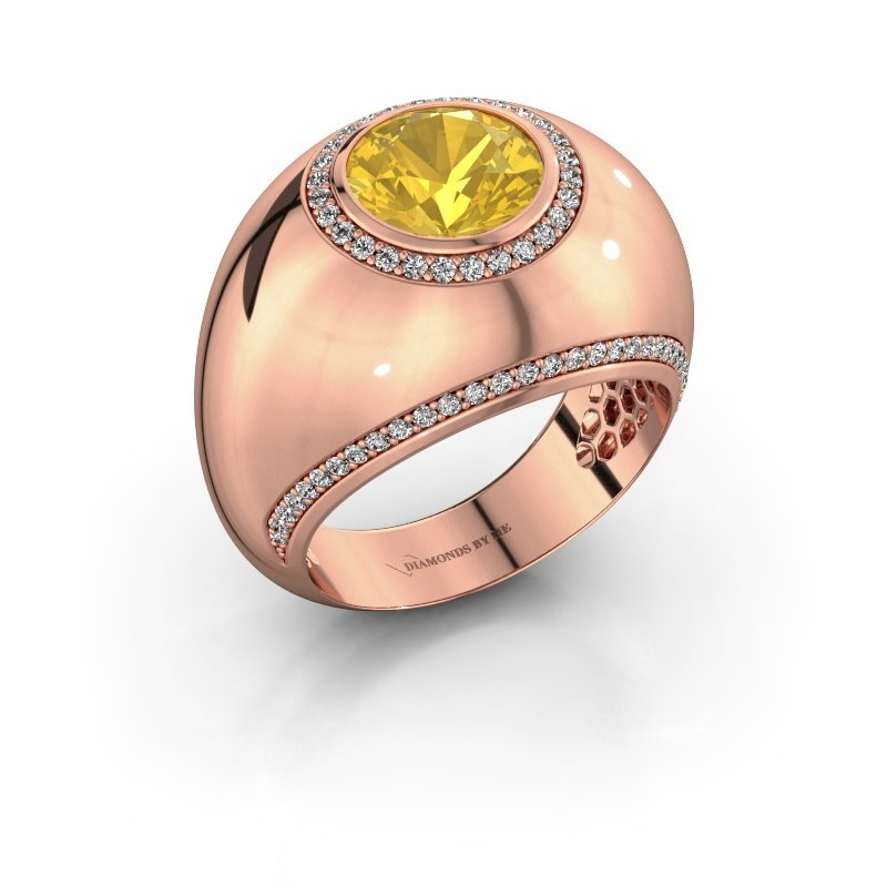 Ring Roxann 375 rose gold yellow sapphire 8 mm