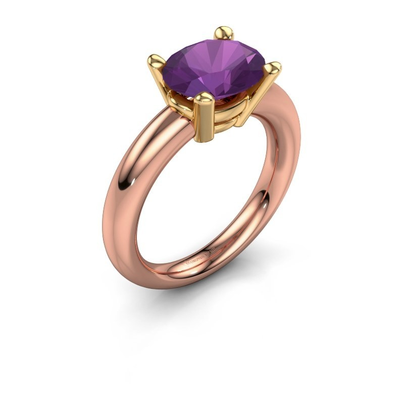 Ring Janiece 585 rose gold amethyst 10x8 mm