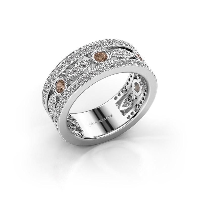 Ring Jessica 585 witgoud bruine diamant 0.864 crt
