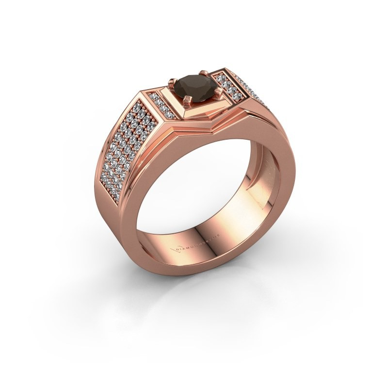 Men's ring Marcel 375 rose gold smokey quartz 5 mm
