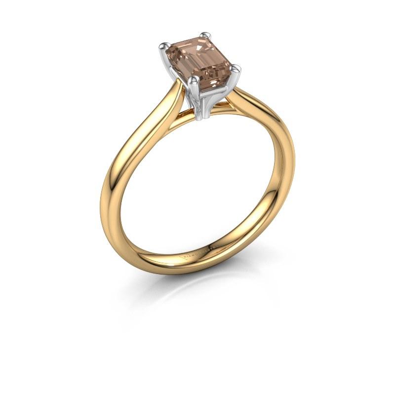 Verlovingsring Mignon eme 1 585 goud bruine diamant 0.90 crt
