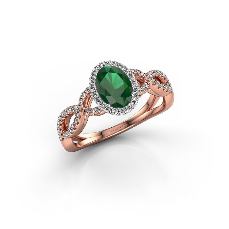 Engagement ring Dionne ovl 585 rose gold emerald 7x5 mm