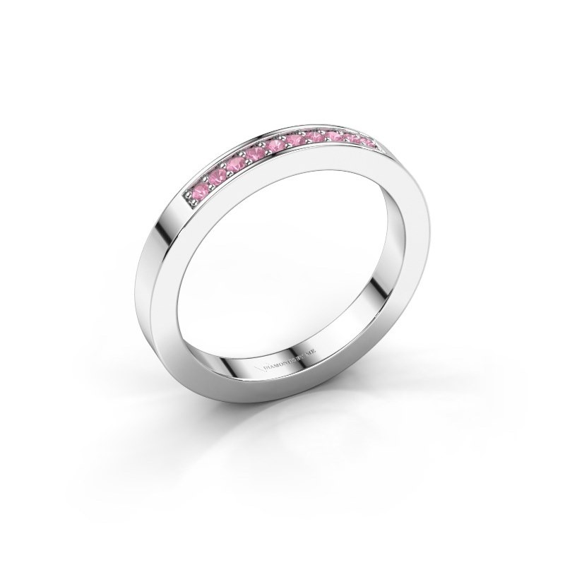 Stackable ring Loes 3 375 white gold pink sapphire 1.3 mm