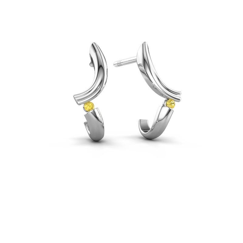 Earrings Tish 585 white gold yellow sapphire 1.5 mm