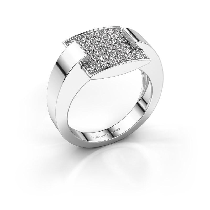 Ring Silke 585 witgoud zirkonia 1.2 mm