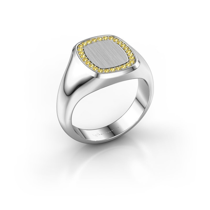 Ring Dalia Cushion 2 925 zilver gele saffier 1.2 mm