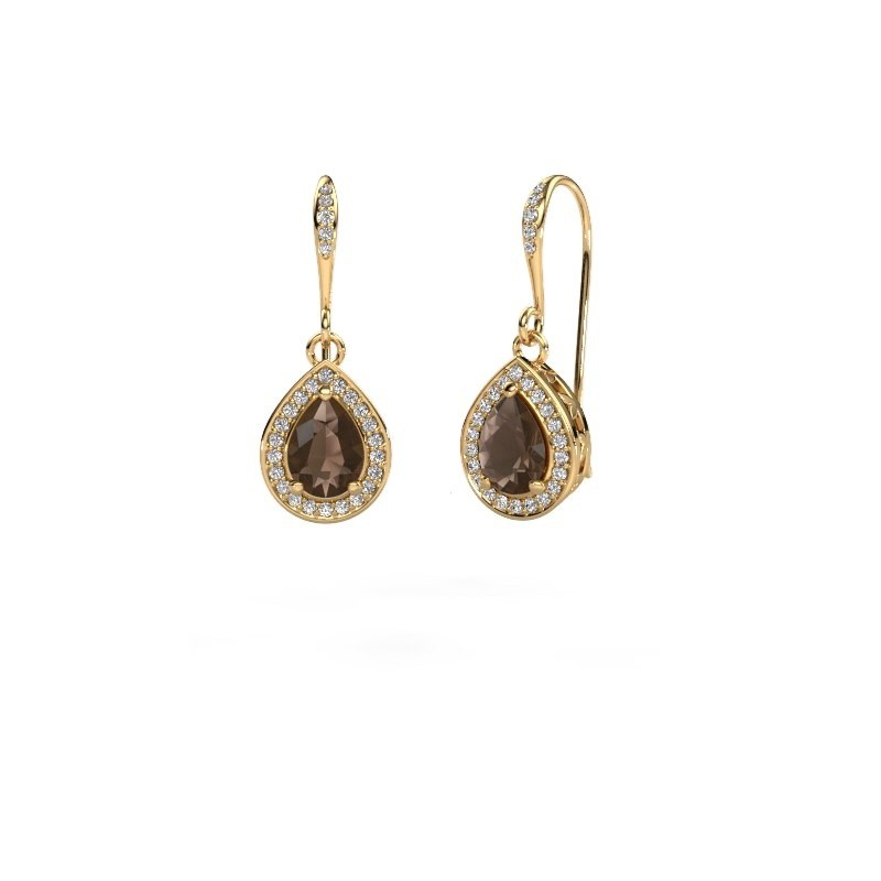 Drop earrings Beverlee 2 375 gold smokey quartz 7x5 mm