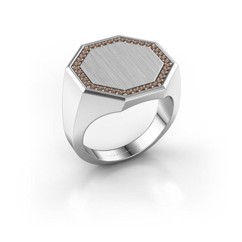 Heren ring Floris Octa 4 925 zilver bruine diamant 0.30 crt