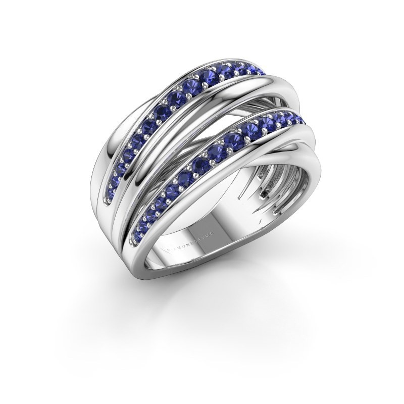 Ring Marylouise 2 585 white gold sapphire 1.2 mm