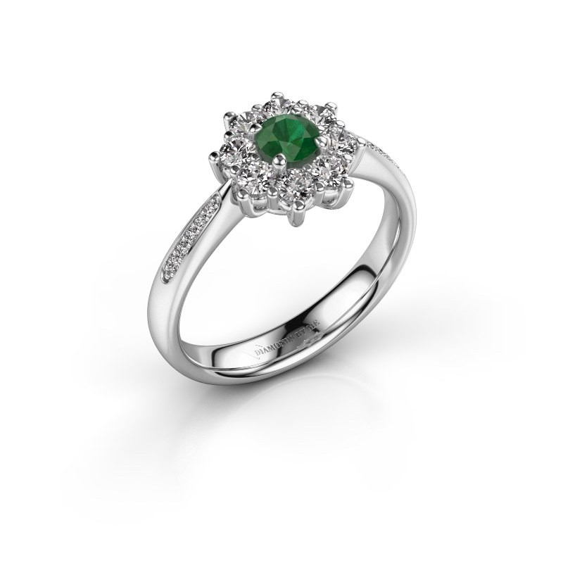 Verlovingsring Carolyn 2 585 witgoud smaragd 3.4 mm