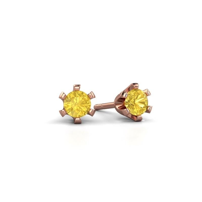 Oorstekers Shana 375 rosé goud gele saffier 4 mm