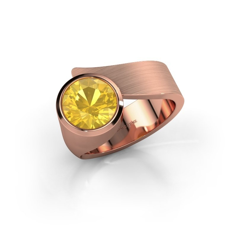 Ring Nakia 375 rosé goud gele saffier 8 mm