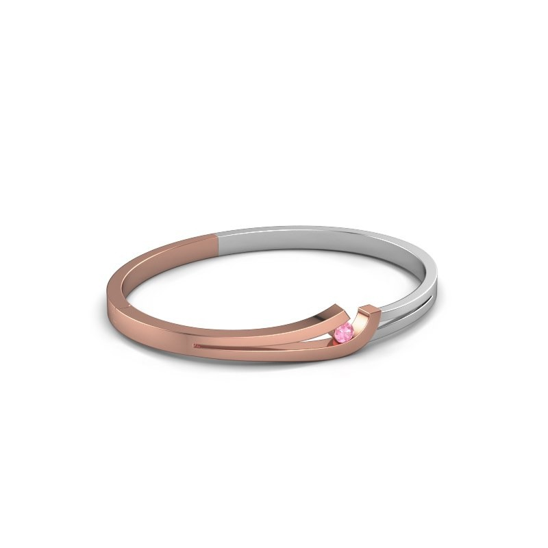 Slavenarmband Yentl 585 rosé goud roze saffier 3.7 mm