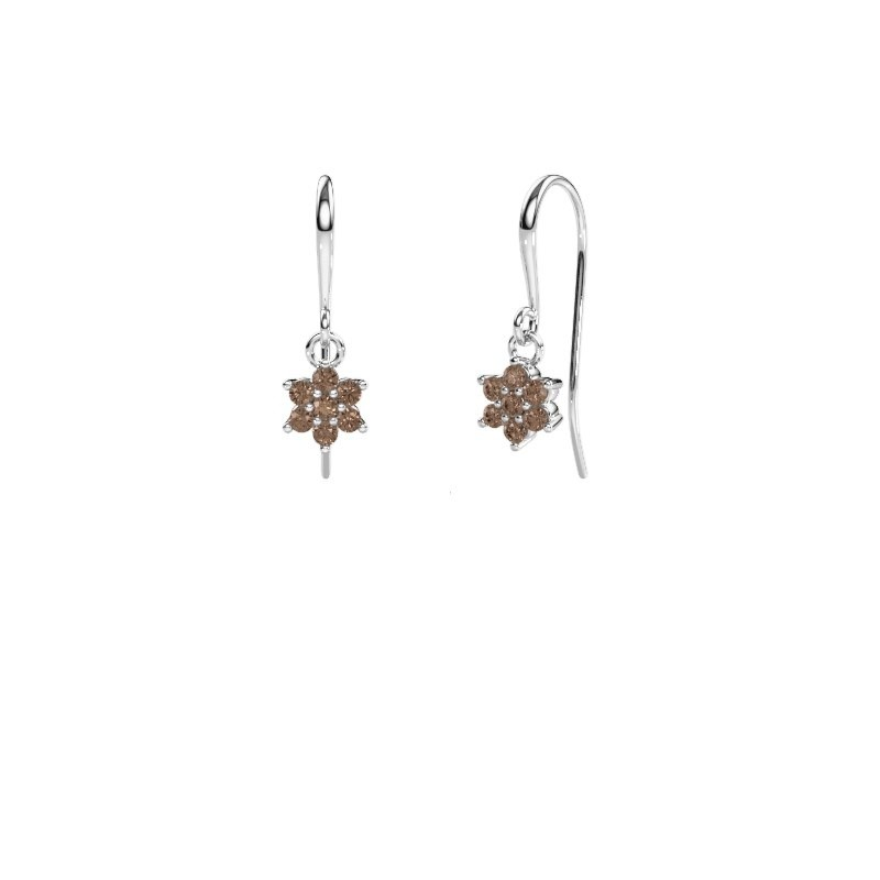 Oorhangers Dahlia 1 585 witgoud bruine diamant 0.28 crt