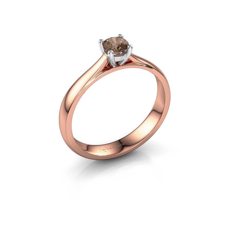 Verlobungsring Sam 585 Roségold Braun Diamant 0.30 crt