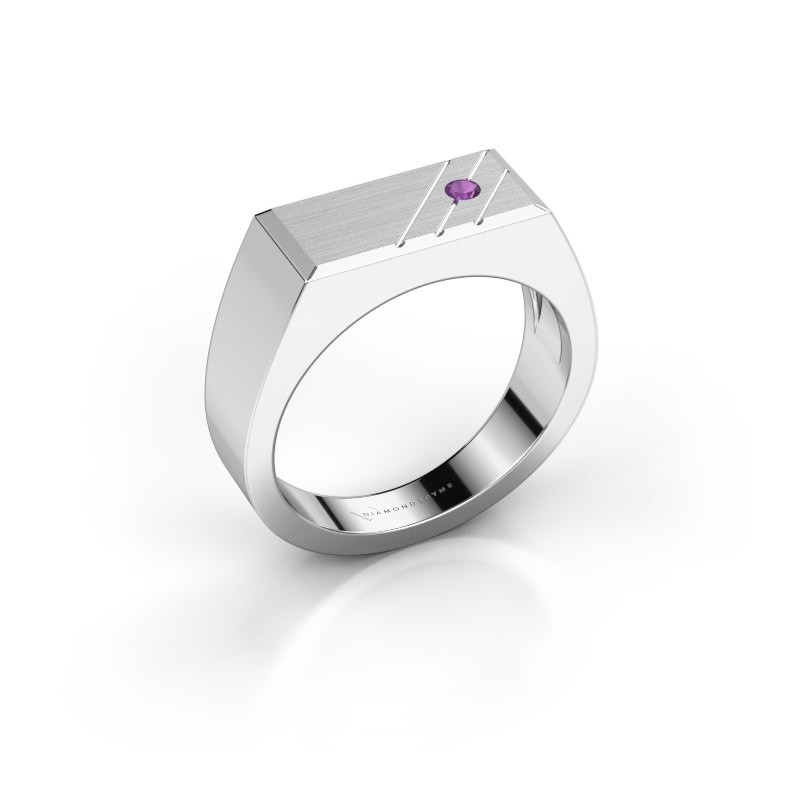 Men's ring Dree 5 585 white gold amethyst 2.4 mm