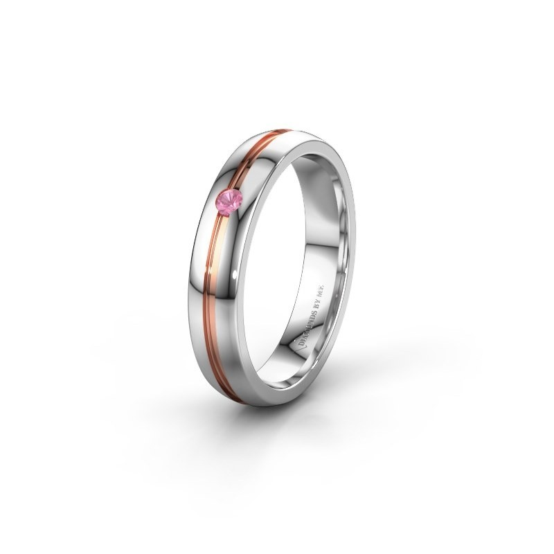 Wedding ring WH0424L24A 585 white gold pink sapphire ±4x1.7 mm