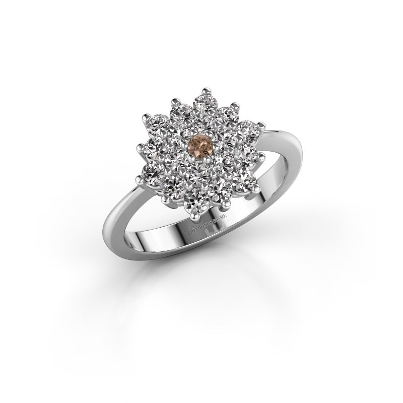 Engagement ring Vickey 2 585 white gold brown diamond 0.03 crt
